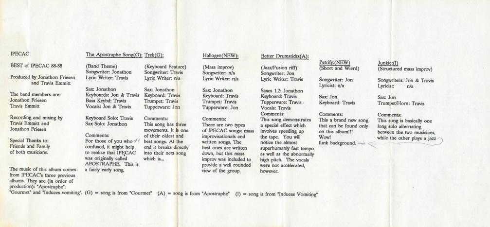 Ipecac Best Of Ipecac 10 September 1988